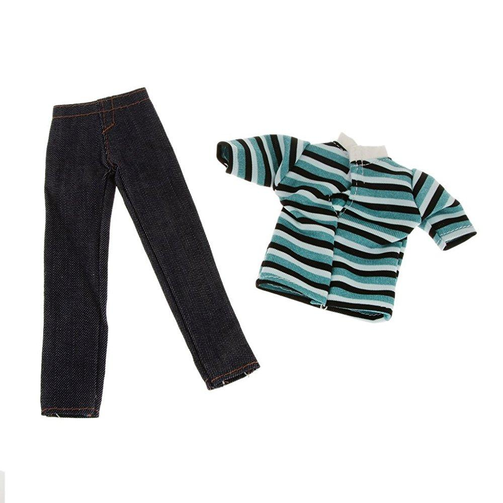 doll handmade casual clothing stripes t-shirt with jean pants outfits