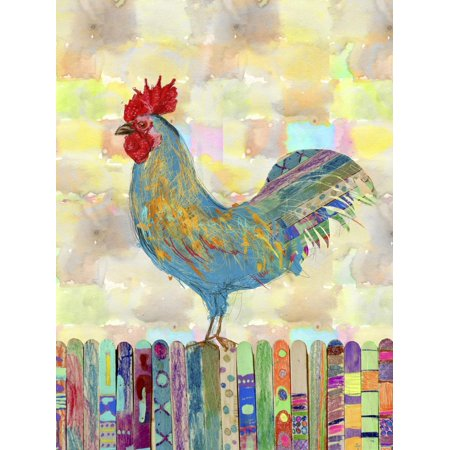 Rooster on a Fence II Colorful Country Kitchen Chicken Farmhouse Artwork Print Wall Art By Ingrid Blixt