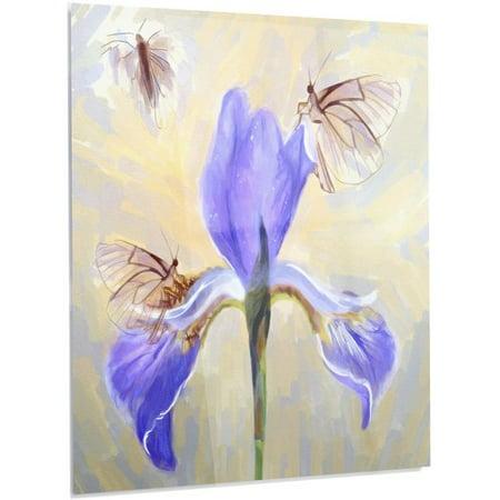 Blue Butterfly Designs (Design Art 'Blue Flower with Butterflies' Painting Print on)