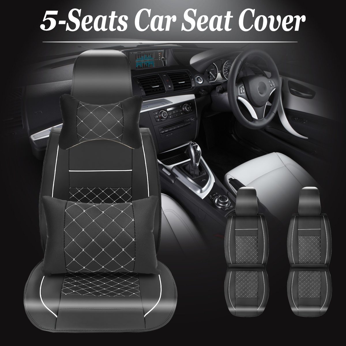 11PCS Full Set Universal PU Leather Car Seat Cushion Cover Front & Rear 5-Seats Auto Neck Lumbar Pillow Full Set for Car Sedan SUV Chevrolet Chevy Aveo Camaro Caprice Captiva etc.