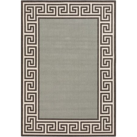 2.25' x 4.5' Grecian Labyrinth Mossy Stone Green and Sandy Beige Shed-Free Area Throw Rug ()