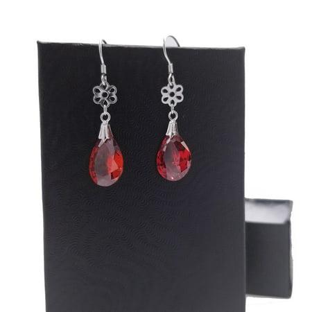 Silver Teardrop Earring Charm (925 Silver Cute Teardrop Red Crystal Flower Charm Dangle Earring for)