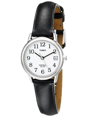 90343940f Free shipping. Product Image Women's T2H331 Indiglo Leather Strap Watch,  Black/Silver-Tone/White, Easy. Timex