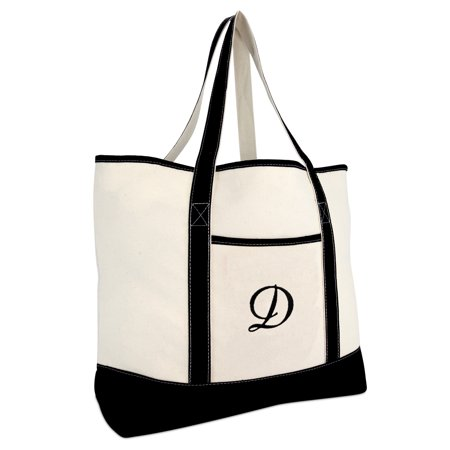 DALIX Monogram Bag Personalized Totes For Women Open Top Black Letter D - Cheap Monogrammed Tote Bags