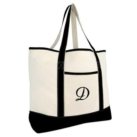 DALIX Monogram Bag Personalized Totes For Women Open Top Black Letter D