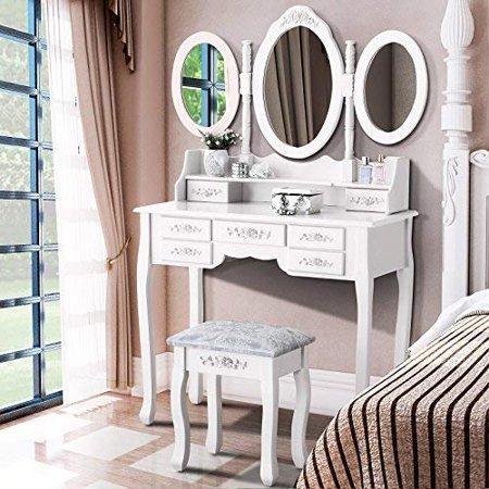 Ubesgoo Tri Folding Mirror Wood Bathroom Vanity Makeup