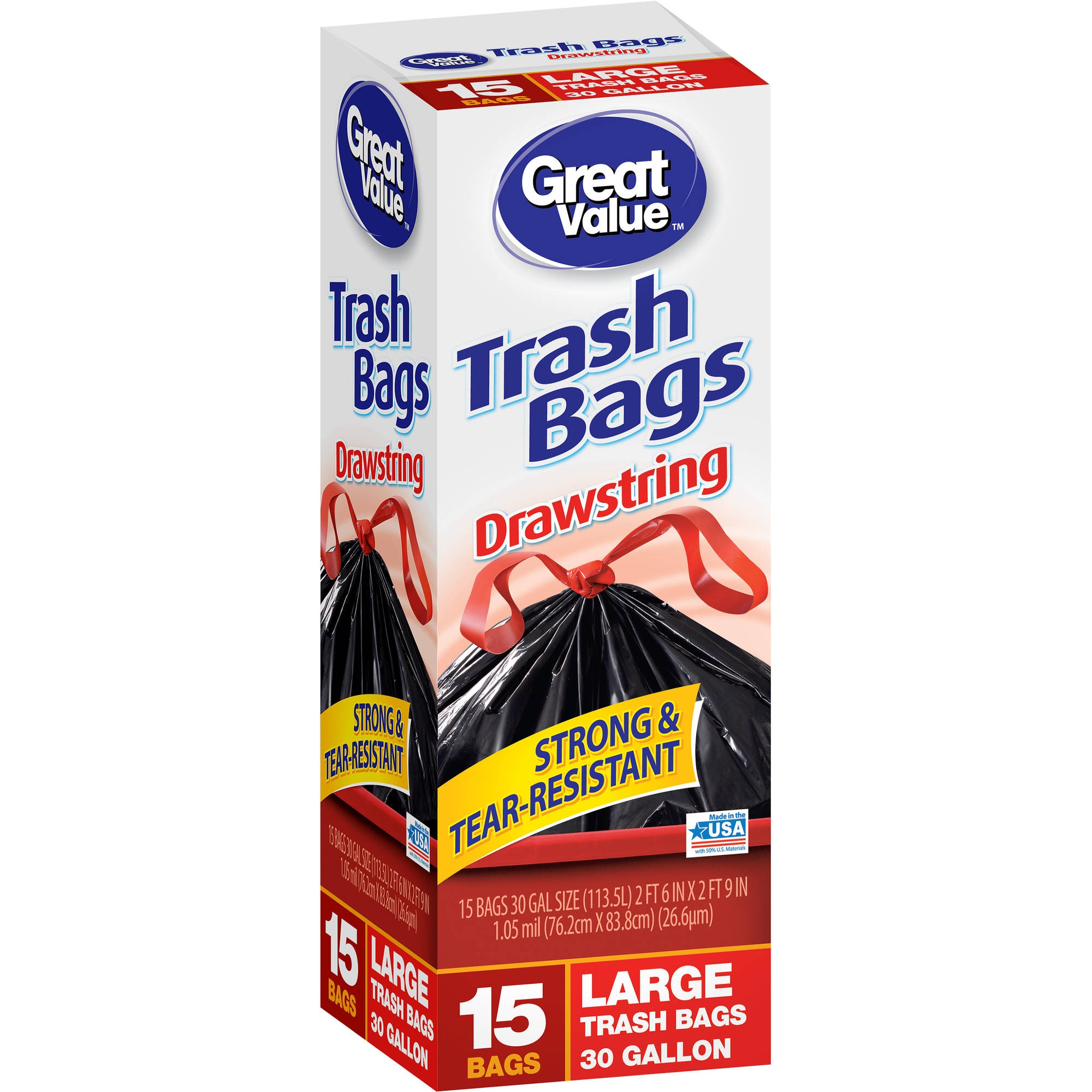 Great Value Drawstring Trash Bags, 13gal, 15 count