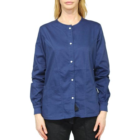 Simply Smile Stretch Twill Snap-Front Warm-Up Jacket(Plus Sizes