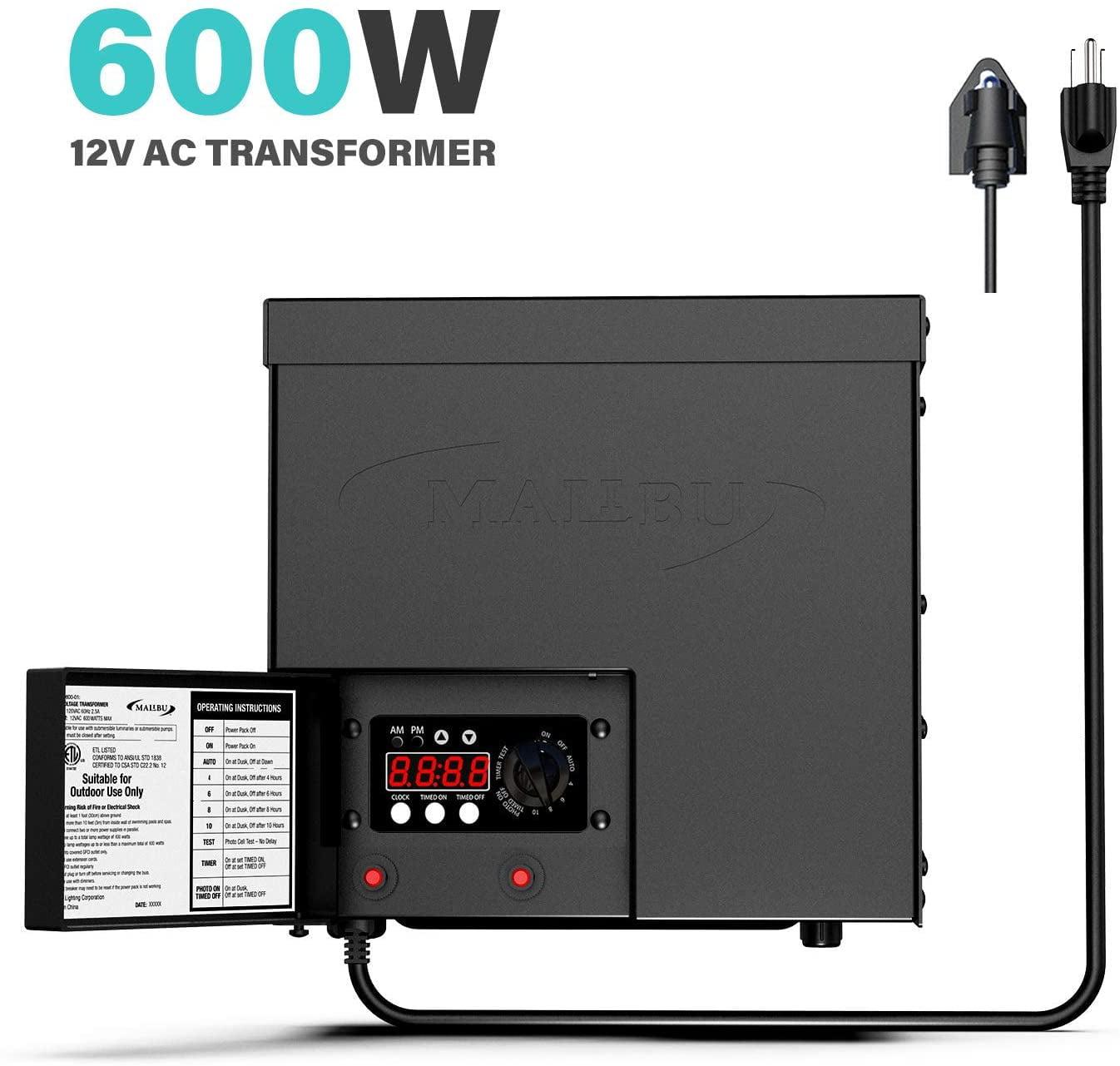 Malibu 600 Watt Transformer For Low Voltage Landscape Lighting Outdoor Garden 12v Ac Walmart Com Walmart Com
