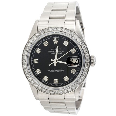 Mens Rolex 36mm DateJust Diamond Watch Oyster Steel Band Custom Black Dial 2 CT. Black Dial Red Meter