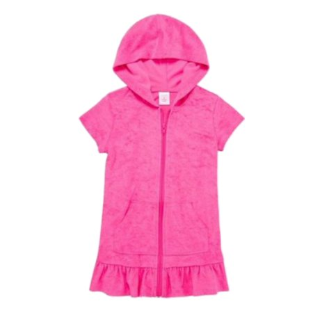 Okie Dokie Toddler Girls Hot Pink Terry Swim Suit Hooded Cover Up Dress 3T