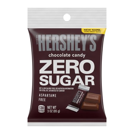 HERSHEYS, Sugar Free Chocolate Candy, Individually Wrapped, 3 oz, Bag