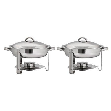 Party Tray Burners (Ktaxon Round Chafing Dish 5 Quart 2 Pack Stainless Steel Full Size Tray Buffet Catering Chafer Food Warmers, for Weddings Parties)