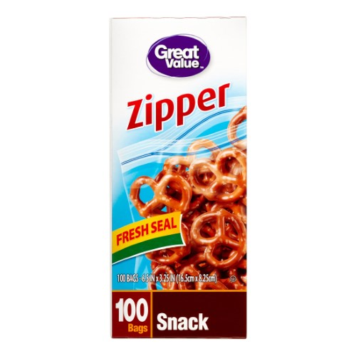 Great Value Pinch & Seal Zipper Snack Bags, 100 Ct