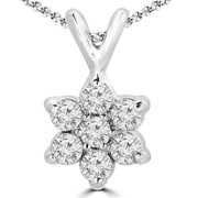Star Motif Diamond Pendant Necklace in 14K White Gold With Chain, 0.33 Carat