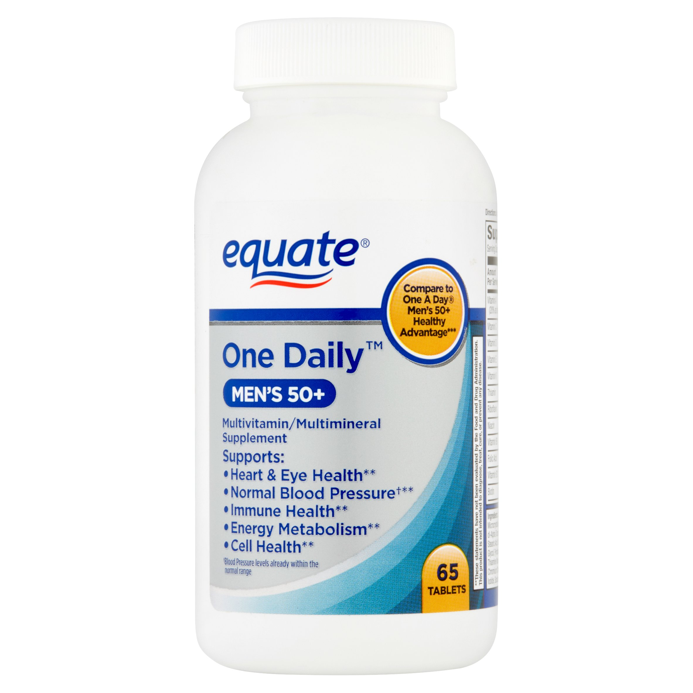 (2 Pack) Equate One Daily Men's 50+ Multivitamin, 65 Ct