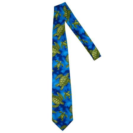 Hawaiian Neckties - Blue Sea Turtle Rainbow Jersey Tie
