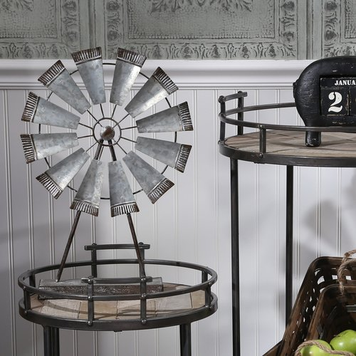 Williston Forge Metal Windmill Table Sculpture
