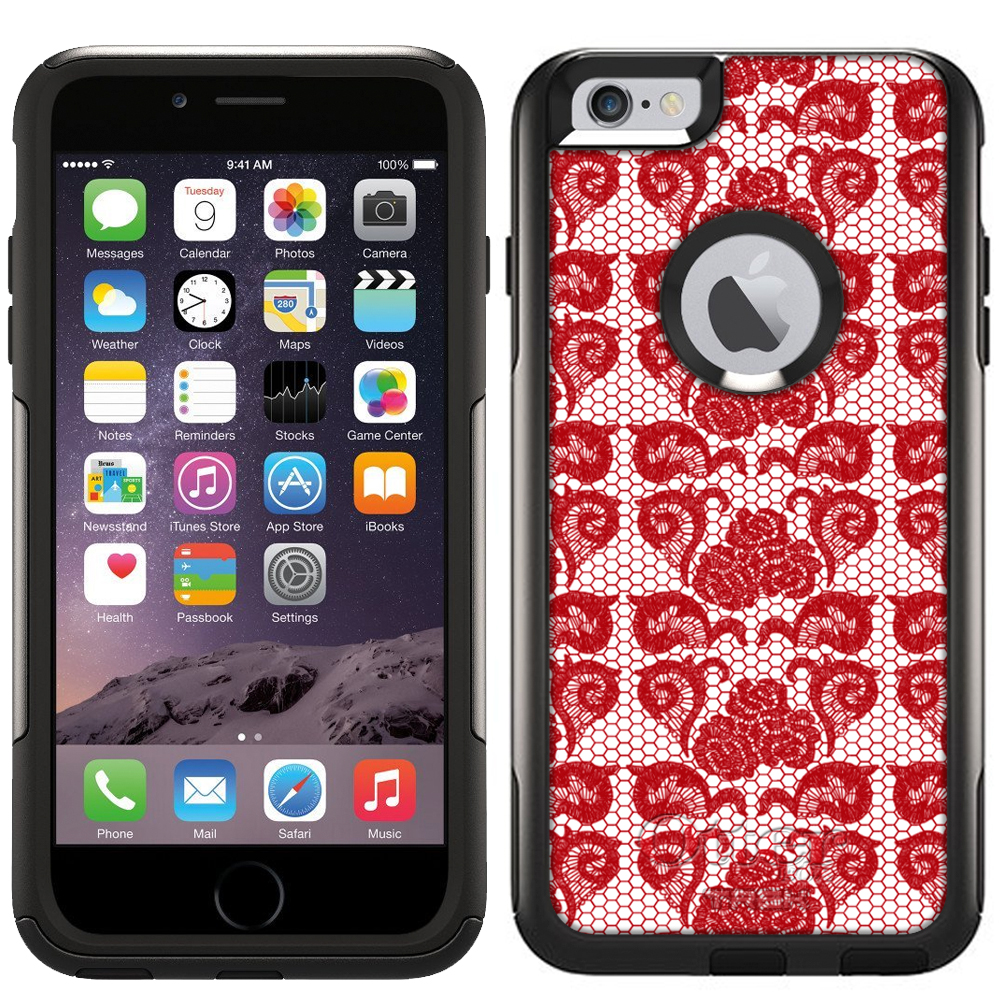 OtterBox Commuter Apple iPhone 6 Plus & iPhone 6S Plus Case - Stunning Hot Red Rose Swirl Lace OtterBox Case