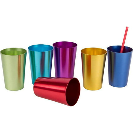 12 Oz Waxed Cold Cup - Retro Aluminum Tumblers - 6 cups - 12 oz. - By Trademark Innovations (Assorted Colors)