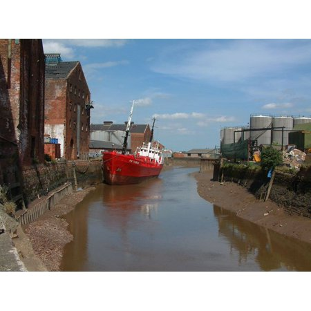 Laminated Poster River Hull Above Scott Street At Low Water A Small Tanker With Vegetable Oils Sits On The Mud At Low Poster Print 24 X 36