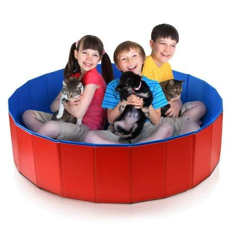 Yosoo Foldable Large Dog Pet Bath Pool Bathing Tub, Portable Folding PVC Large Swimming Pool Bathtub Small Washer Kiddie Pools