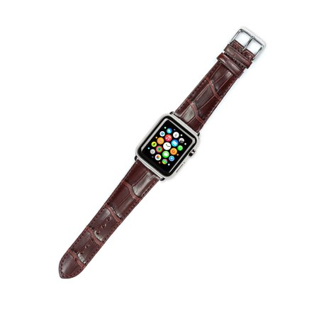 Apple Watch Strap - Genuine Alligator Watch Band - Brown - Fits 38mm Series 1 & 2 Apple Watch [Silver Adapters]