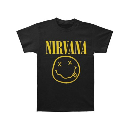 Nirvana Men's  Smile One Sided Slim Fit T-shirt Black