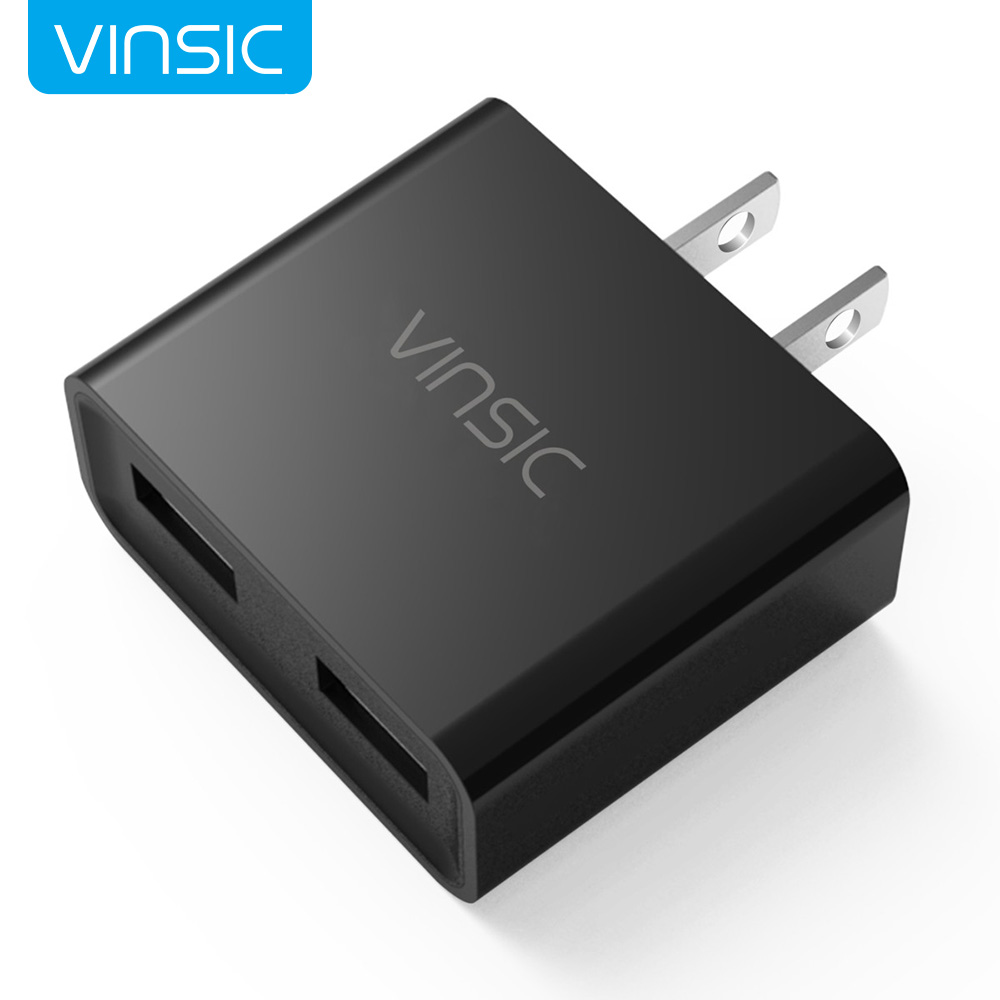 USB Charger, Vinsic 12W Dual-Port USB Travel Charger Adapter, 5V 2.4A for Cell Phones, Tablets