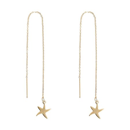Sexy Sparkles Stainless Steel Starfish Ear Thread Threader Earrings Drop Dangle Earrings