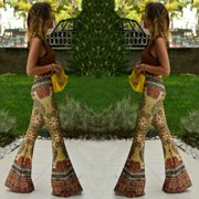 New Womens Summer Floral Pants Casual High Waist Flare Wide Leg Long Trousers