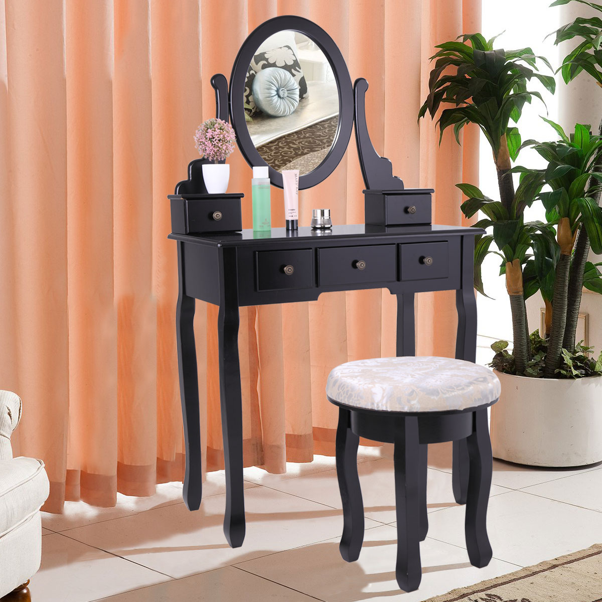 Jaxpety Wooden Vanity Table Set Makeup Dressing Table with Stool and Oval Mirror, Black
