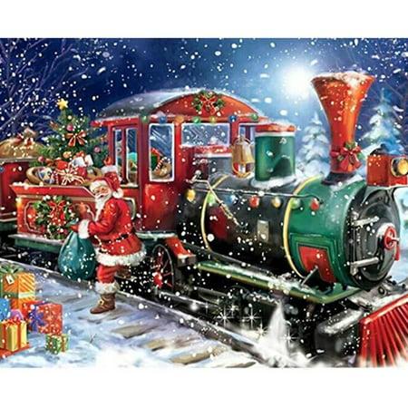 Fancyleo 5D DIY Full Diamond Painting Kits Santa Claus Present Train Cross Stitch with Round Drill Diamond Embroidery Decor Christmas Gifts 40x30cm(Santa Claus Gift Train)