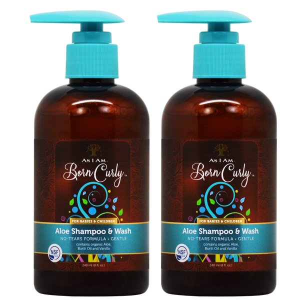 "As I am Born Curly Aloe Shampoo & Wash For Babies and Children 8oz ""Pack of 2"""