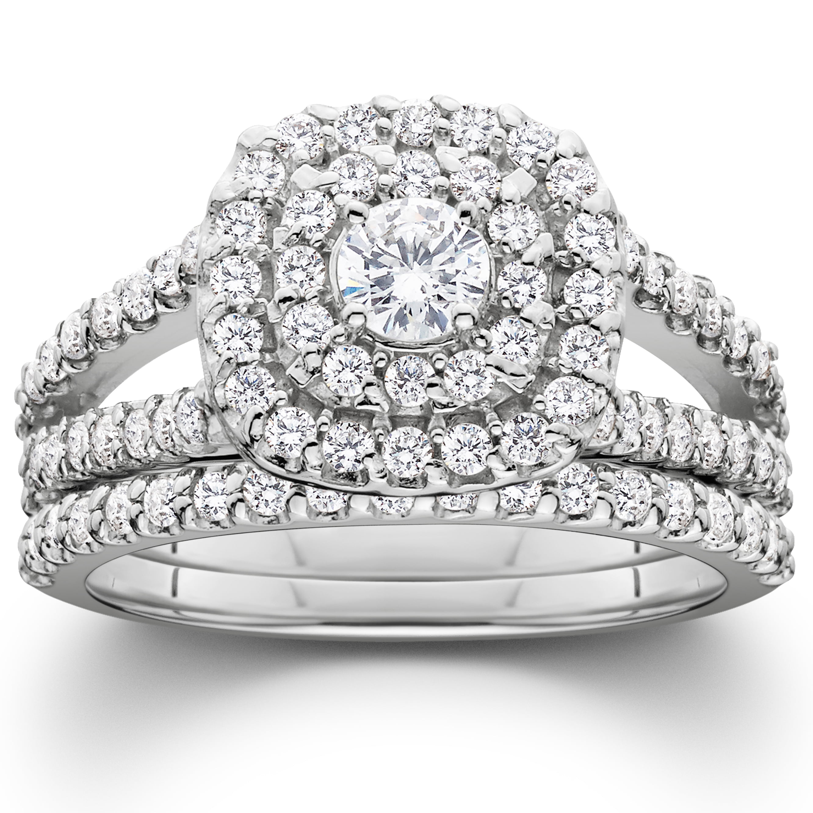 1 1 10ct Cushion Halo Solitaire Diamond Engagement Wedding Ring Set 10K White Gold by Pompeii3