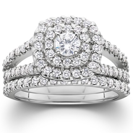 1 110ct cushion halo solitaire diamond engagement wedding ring set 10k white gold - White Gold Wedding Rings Sets