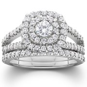1 110ct cushion halo solitaire diamond engagement wedding ring set 10k white gold - Sears Wedding Rings