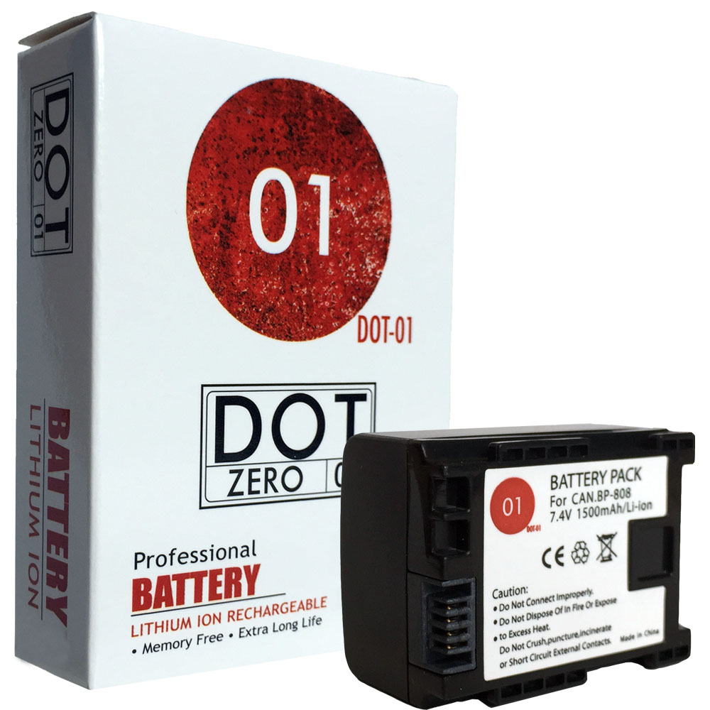 DOT-01 Brand 1500 mAh Replacement Canon BP-808 Battery for Canon HF200 Camcorder and Canon BP808