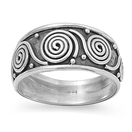 Bali Swirl Oxidized Wide Polished Thumb Ring ( Sizes 5 6 7 8 9 10 11 12 ) 925 Sterling Silver Band Rings (Size 8)