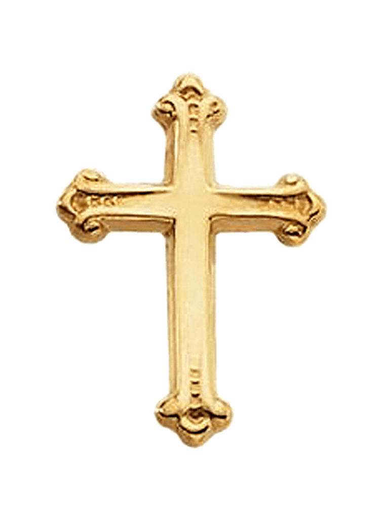 14K Yellow Gold Classic Budded Cross Pin Brooch by Yellow-Gold Brooches