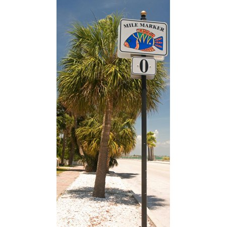 Mile Marker Zero at Pass-A-Grille, St. Pete Beach, Tampa Bay Area, Tampa Bay, Florida, USA Print Wall