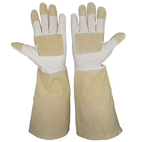 HANDLANDY Pruning Gloves Long For Men U0026 Women, Pigskin Leather Rose Gardening  Gloves  Breathable