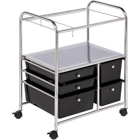 honey can do 5 drawer hanging file rolling cart chrome black. Black Bedroom Furniture Sets. Home Design Ideas
