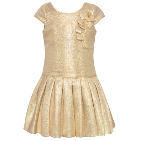 Biscotti Girls Gold Shimmery Cap Sleeved Pleated Christmas Dress