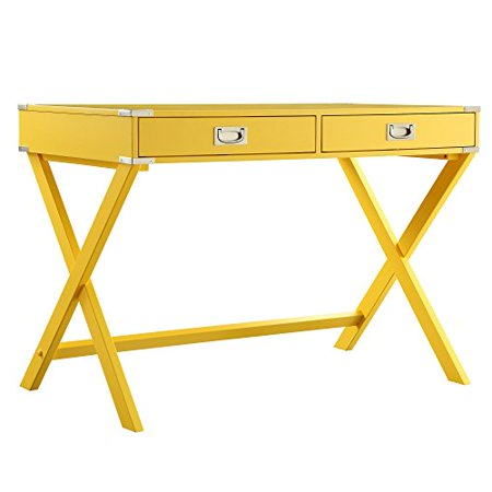 Modern Wood Accent X Base Yellow Student Computer Writing Office Desk with 2 Drawers