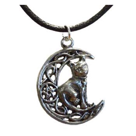 RBI Jewelry Crescent Moon with Cat of Nocturnal Friendship Amulet Talisman ()