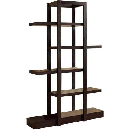 "Monarch 5-Shelf Bookcase - 71""H / Cappuccino Open Concept Display Etagere"