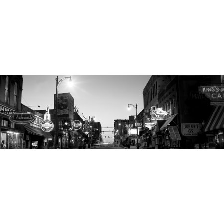 Buildings in a city at dusk Beale Street Memphis Tennessee USA Canvas Art - Panoramic Images (6 x 18)