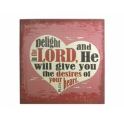 Wall Decor-Stretched Canvas-Delight In The Lord-Linen (12 x 12)