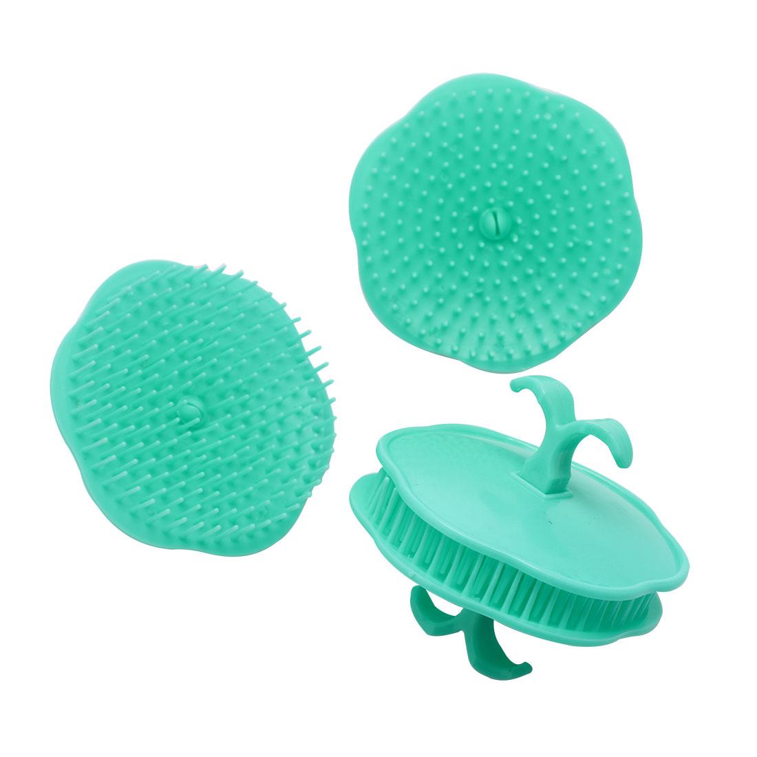 Hair Head Scalp Massage Shampoo Brush Comb Cyan 4Pcs